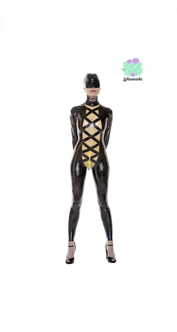 Black Latex Outfit - Black Full-body latex catsuit - lotuscede.co.za