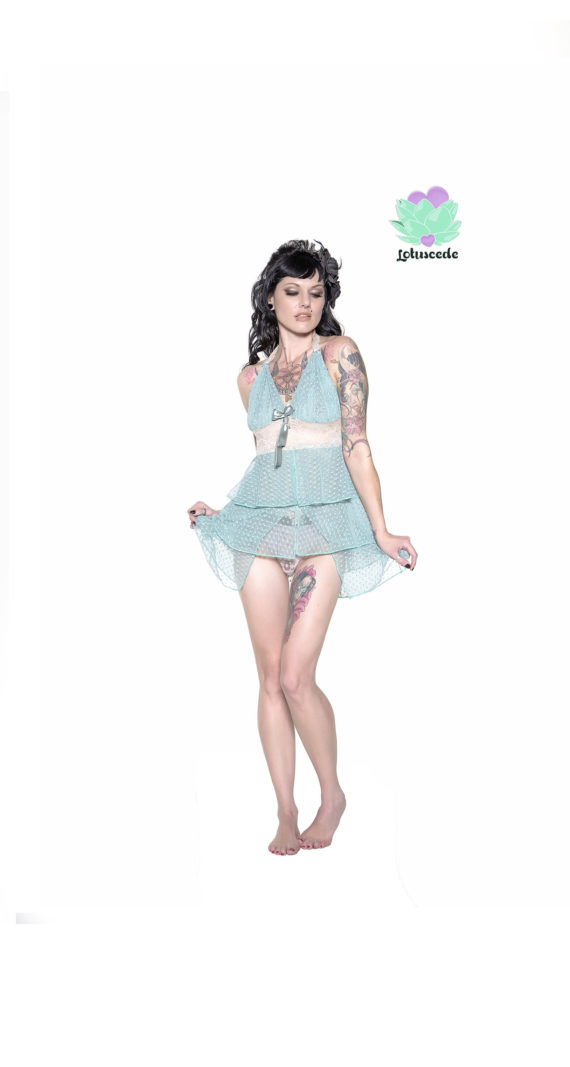 Mint Green Mesh Baby Doll - Sexy Designer Lingerie - Lotuscede