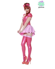 Pink Latex Shirt – Miss Muffet Latex Outfit – Sexy designer latex clothing – Lotuscede