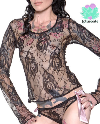black lace top long sleeve - sexy designer lingerie - lotuscede.co.za