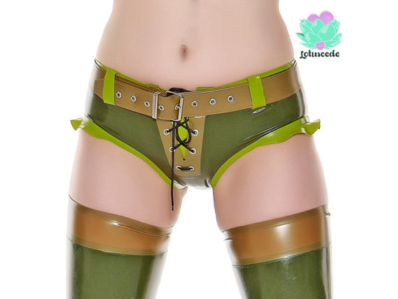 Camo Latex Shorts - Camo Camilla - latex panties - lotuscede.co.za
