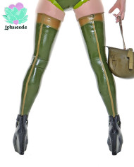 green-latex-stockings-back