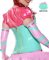 Miss Muffet Latex Corset Mint & Pink – Sexy Designer Fantasy Latex Outfits – Lotuscede