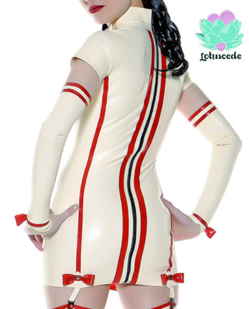 red and white nurse latex dress
