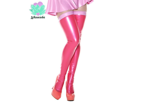 Miss Muffet Dark Pink Latex Stockings - Sexy Designer Fantasy Latex Outfits - Lotuscede