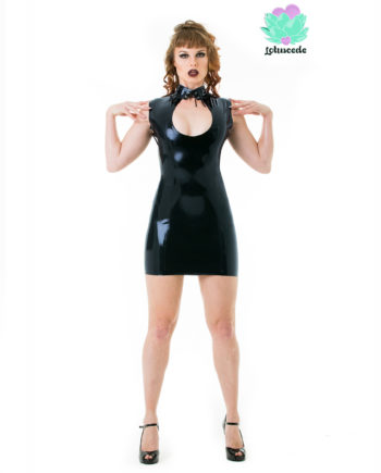 Black Latex Peephole Dress - Sexy Designer Fantasy Latex Outfits - Lotuscede