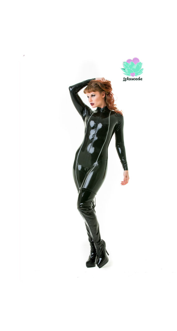Avenger Latex Catsuit - Black (Full-Body) - Sexy Designer Fantasy Latex Outfits - Lotuscede