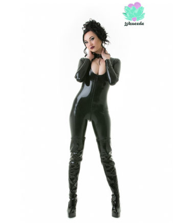 Black Latex Keyhole Catsuit - Sexy Designer Fantasy Latex Outfits - Lotuscede