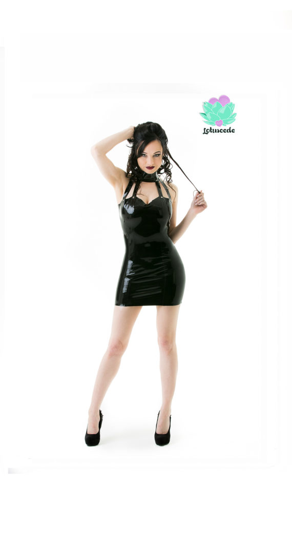 Black Collared Latex Dress - Sexy Designer Fantasy Latex Outfits - Lotuscede