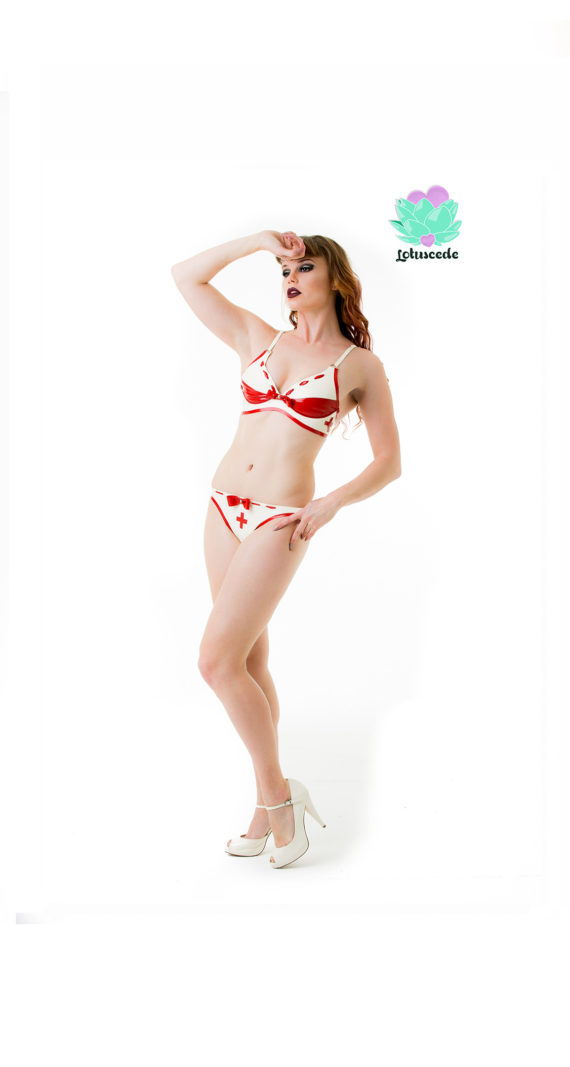 Latex Nurse Bikini Set - Bra & G-String - Sexy Designer Fantasy Latex Outfits - Lotuscede
