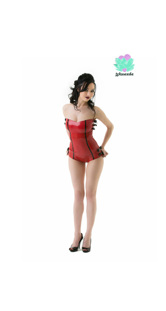 Sweetheart Latex Top And Hot Pants Set - Sexy Designer Fantasy Latex Outfits - Lotuscede