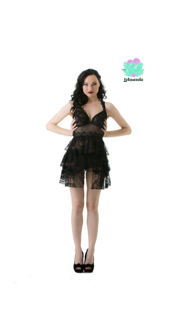 Black Lace Baby Doll - Sexy Lingerie - Lotuscede