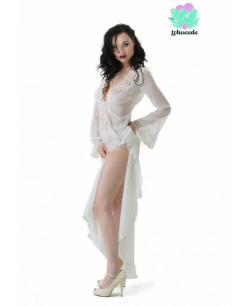 Pearl White Georgette Gown Long - Sexy Lingerie - Lotuscede