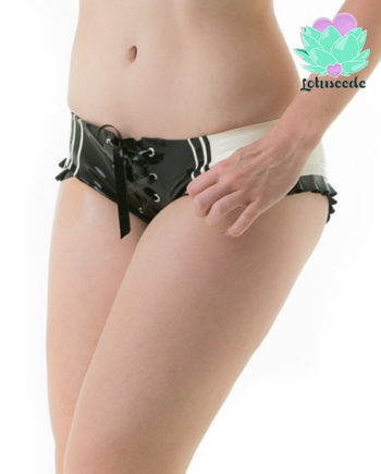 Striped Latex Boy Shorts Panties - Sexy Designer Latex - Lotuscede