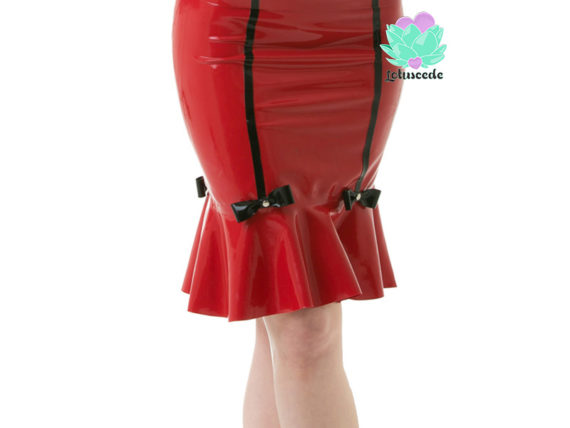 Sweetheart Latex Pencil Skirt Red - Sexy Designer Latex - Lotuscede